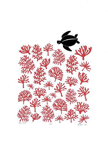 Sea Turtle Reef Screen Print in Aurora Red by Lu West