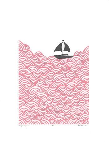 Bigger Boat Screen Print in Rose Quartz by Lu West