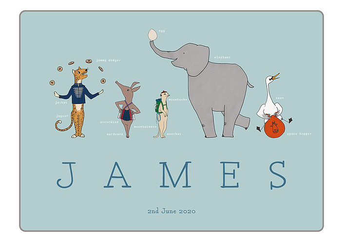 Blue Animal Jamboree Print (Personalised) by Little Letter Studio