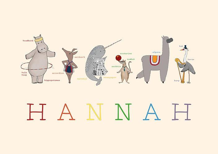 Rainbow Animal Jamboree Print (Personalised) by Little Letter Studio