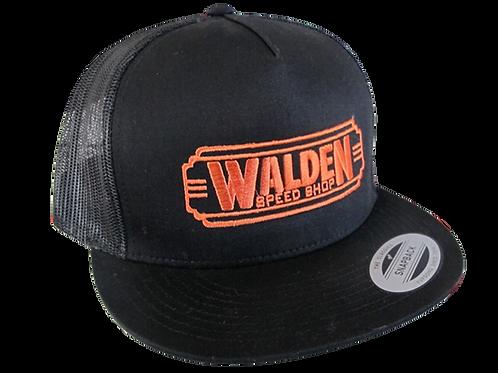 WALDEN SPEED SHOP CLASSIC DECO LOGO HAT BLACK & ORANGE TRUCKER