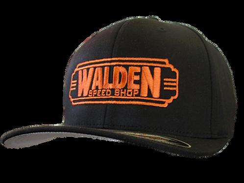 WALDEN SPEED SHOP CLASSIC DECO LOGO HAT ORANGE & BLACK FLEXFIT