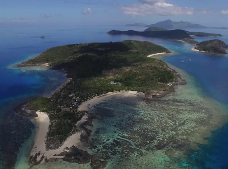 Drone shot of Fiji - Barefoot Manta