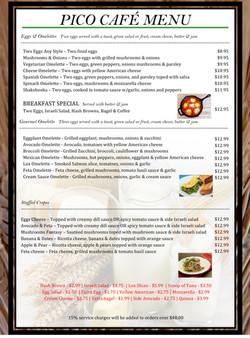 1 pico menu