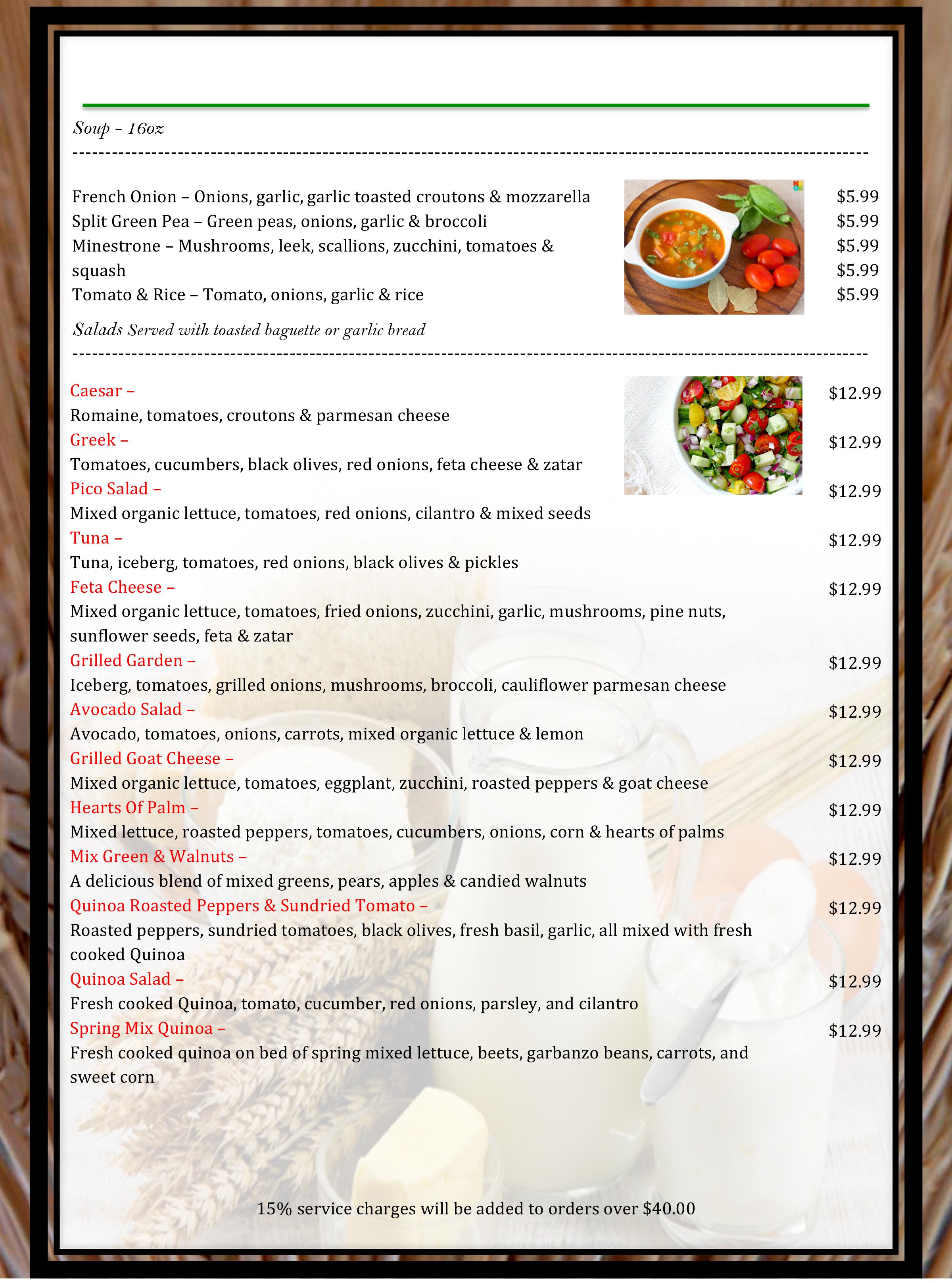 5 pico menu