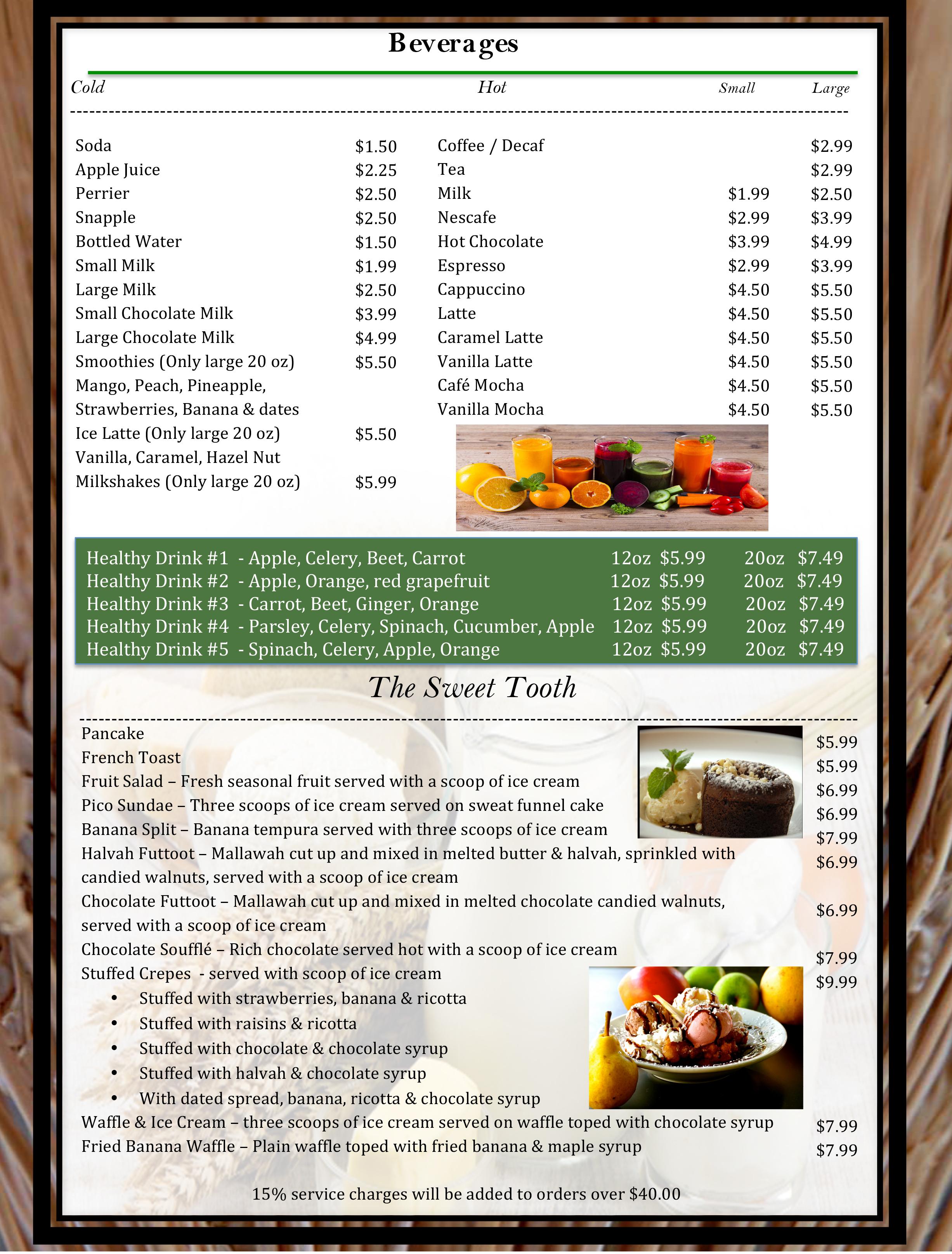 6 pico menu