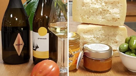 Bollicine spumante, giramondo wine, pecorino cheese, honey, olives