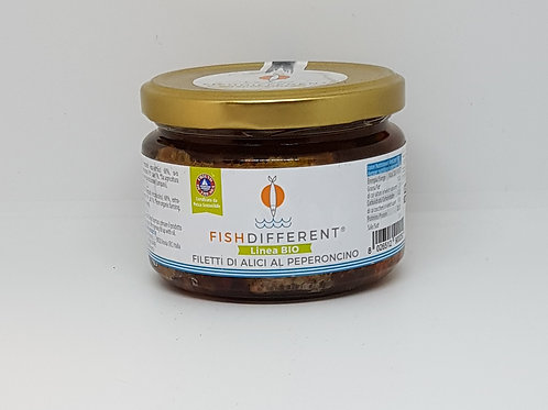 Filetto rustico di alacce met peperoncino, sardientjes met peper en olijfolie