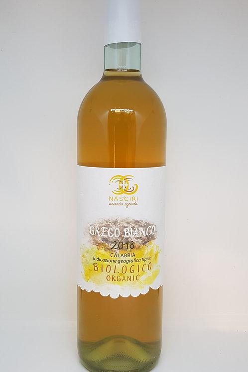 Fles witte natuurwijn, Greco Bianco