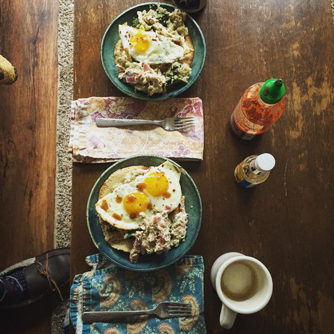 breakfast hashes with eggs