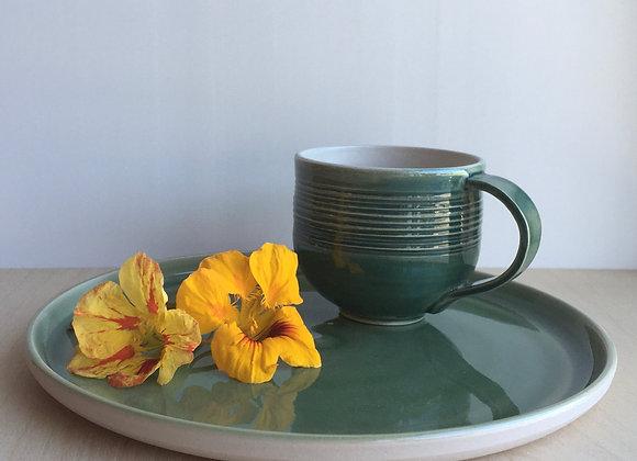 Kaffekopp med hank, mørk-grønn