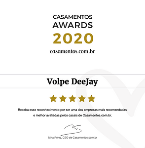 Volpe DeeJay DJ Prêmio Casamentos 2020 S