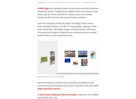 ONG AFAGO SP faz leilão virtual de obras de arte para ajudar comunidades carentes de SP
