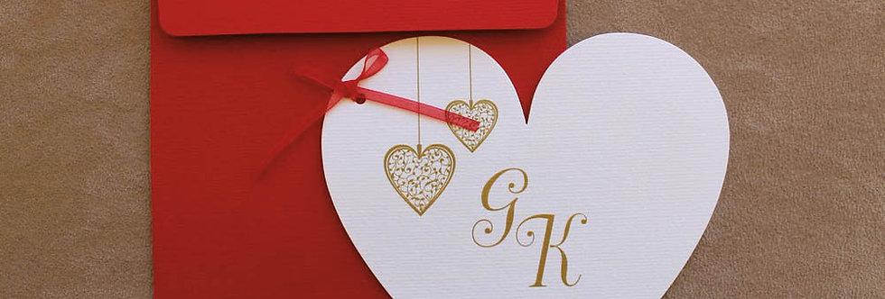 Προσκλητήριο Γάμου Κόκκινο - Καρδιά