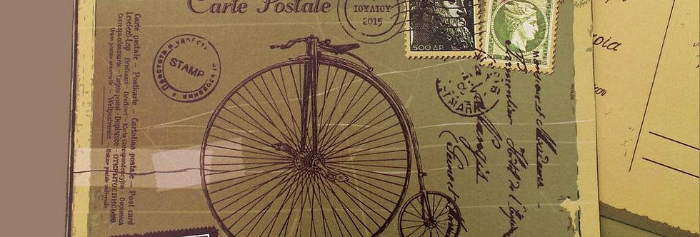 Προσκλητήριο Γάμου Ποδήλατο Vintage Postcard