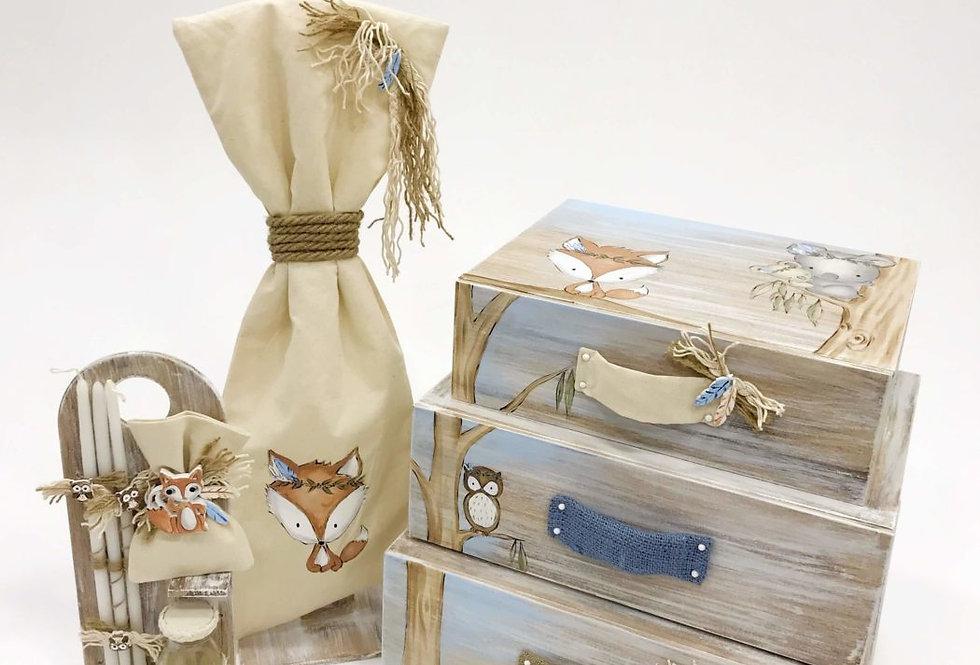 Βαπτιστικό κουτί συρταριέρα αλεπού SWEET FOREST SUITCASES