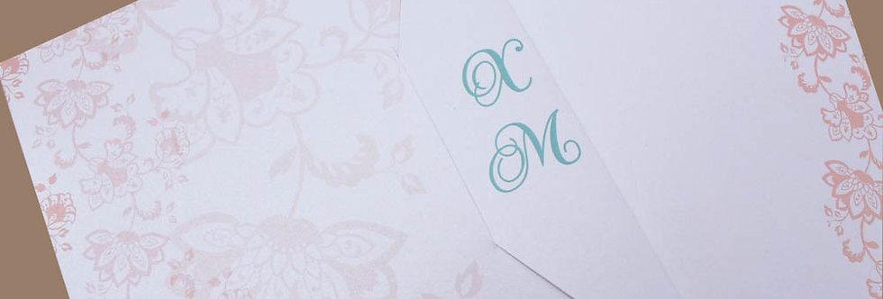 Προσκλητήριο Γάμου Μοτίβα Λουλουδιών