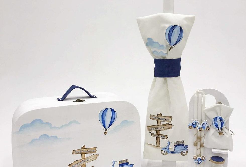 Σετ Βάπτισης βαλίτσα  με θέμα  Ταξίδια  On the Road