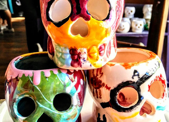 Sugar Skull Tea Light Lantern