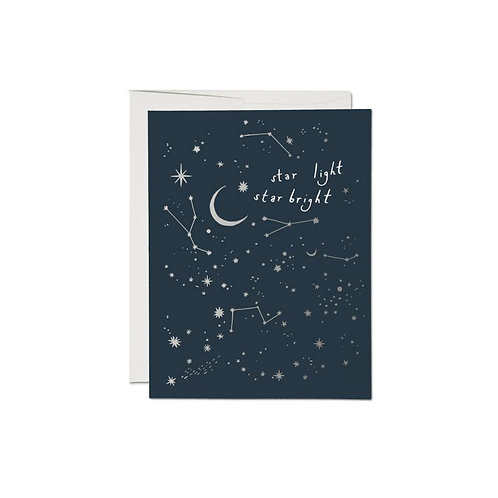 """RED CAP CARDS  /  GREETING CARD  """"MOON AND STARS"""""""