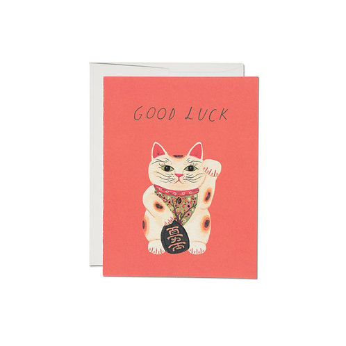 """RED CAP CARDS  /  GREETING CARD  """"GOOD LUCK KITTY"""""""