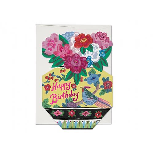 "RED CAP CARDS  /  GREETING CARD  ""ORNATE FLOWER VASE"""