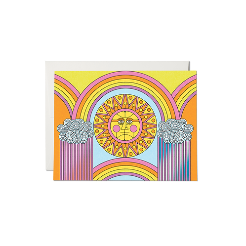 """RED CAP CARDS  /  GREETING CARD  """"SUN AND RAINBOWS"""""""