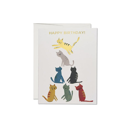 """RED CAP CARDS  /  GREETING CARD  """"GOLD KITTY"""""""