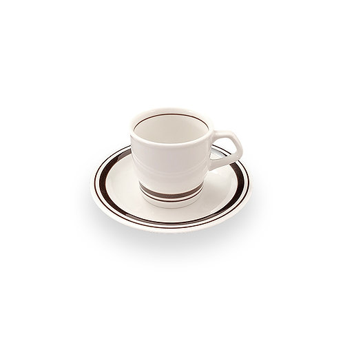 BROWN LINE HARD TABLEWARE  Coffee Cup & Saucer