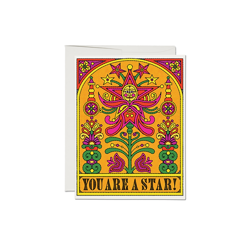 """RED CAP CARDS  /  GREETING CARD  """"YOU ARE A STAR"""""""