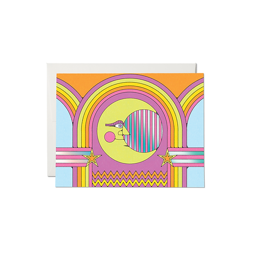 """RED CAP CARDS  /  GREETING CARD  """"MOON AND RAINBOWS"""""""