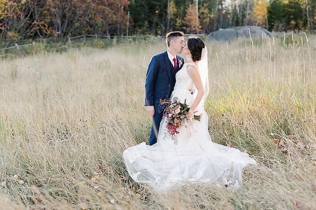 bride and groom at Locke Falls Farm