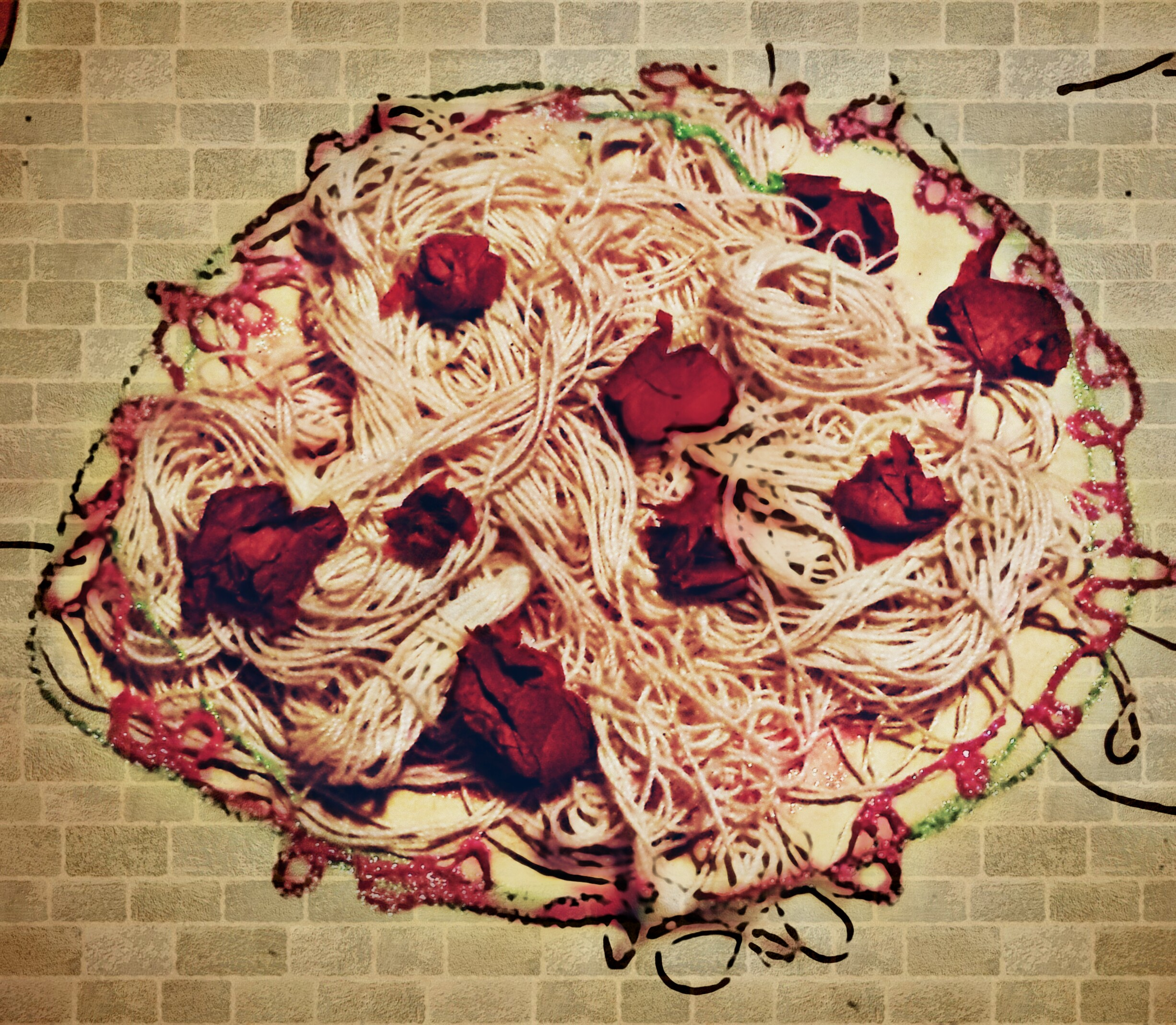 spaghetti on the wall