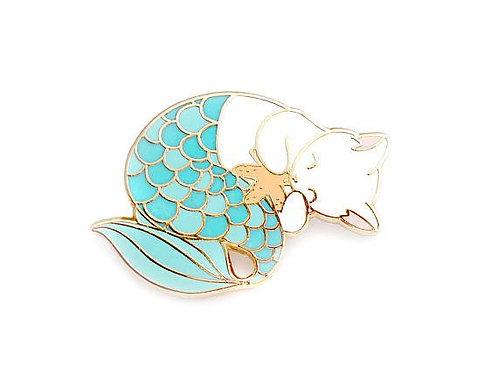 Blue purrmaid enamel pin (mermaid cat hard enamel pin lapel pin badge jewelry cu