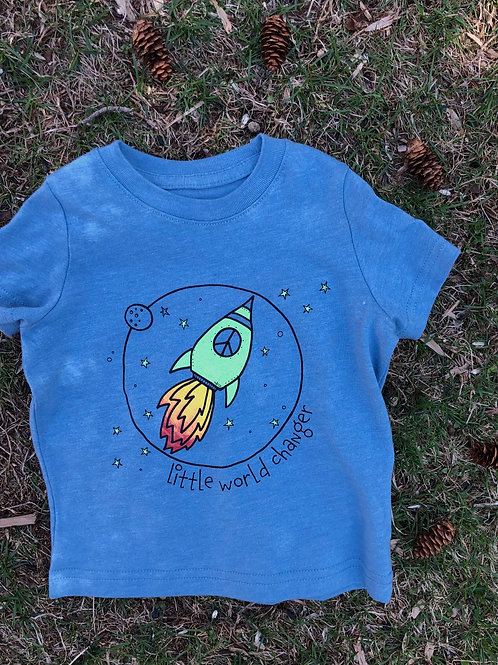 Little World Changer Rocket Toddler Blue Tee