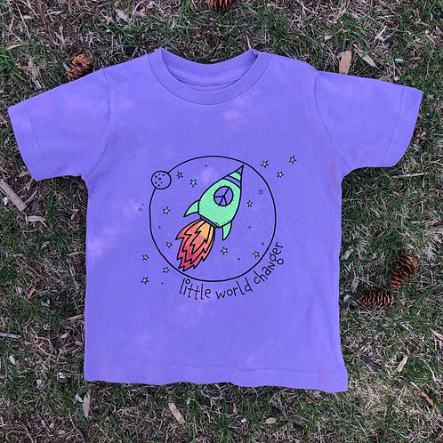 Little World Changer Rocket Toddler Purple Tee