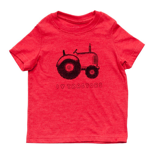 I Love Tractors Toddler Red Tee - Wholesale