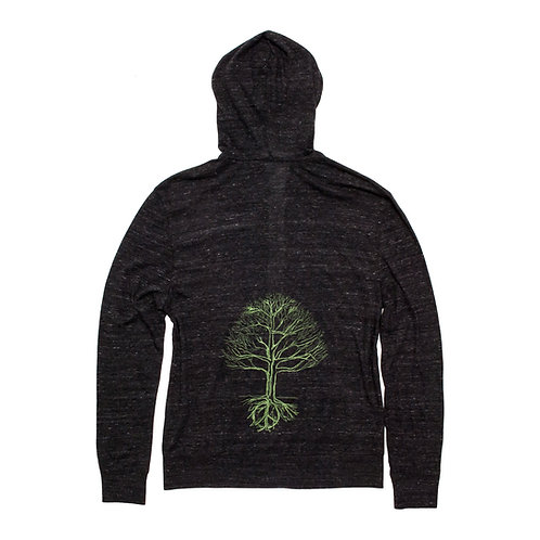 Unisex Peace Tree Zip Hoodie Green