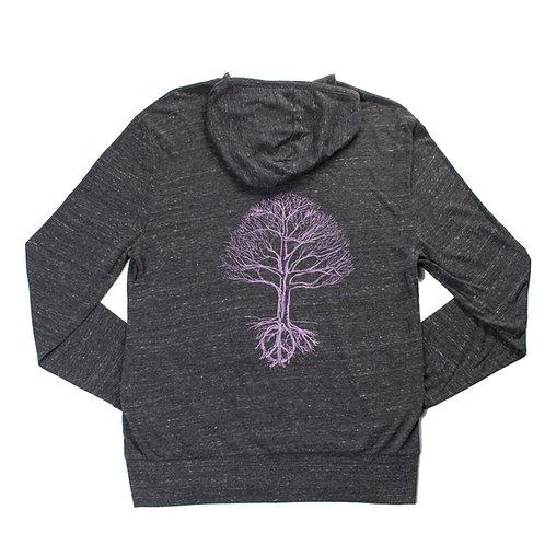 Unisex Peace Tree Zip Hoodie Purple - Wholesale