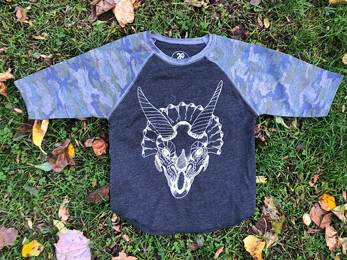 Kid's Triceratops Baseball Tee - Wholesale