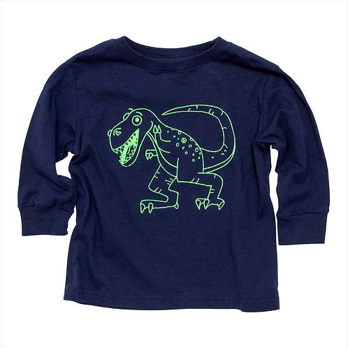 Toddler Green Dinosaur Long Sleeve Tee - Wholesale