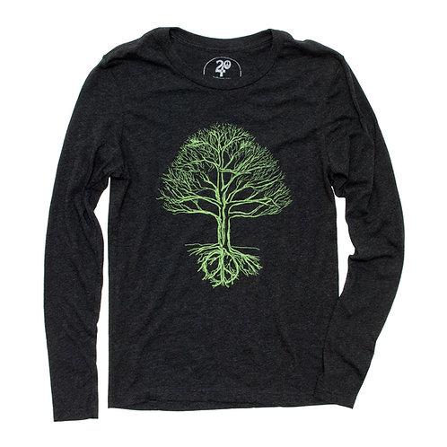Unisex Peace Tree Long Sleeve Tee Green