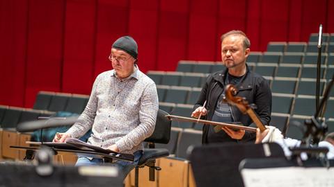 Maciej Zieliński and Marek Moś at a rehearsal at Mediateka in Tychy