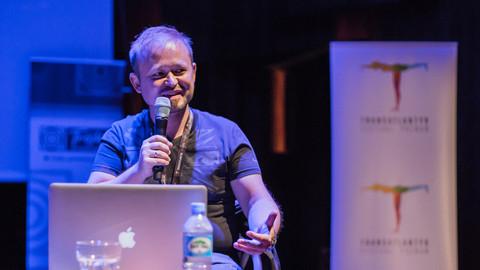 Maciej Zieliński at a lecture