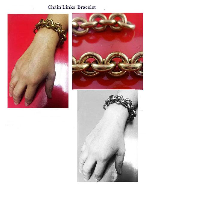 18K gold or Sterling Silver Chain Links  bracelet hollow