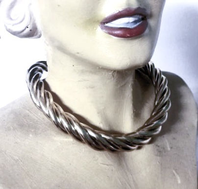 braided collar necklace  silver