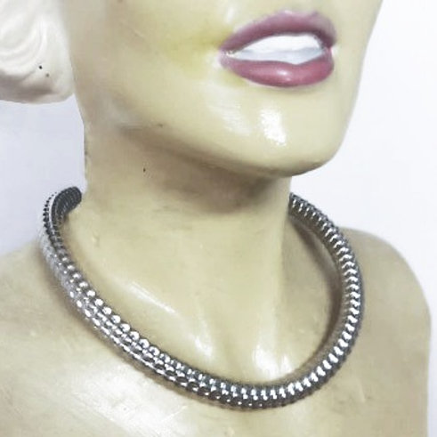 Sterling silver corruagated handmade rigid collar