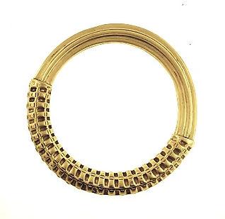 18K gold corrugated bangle