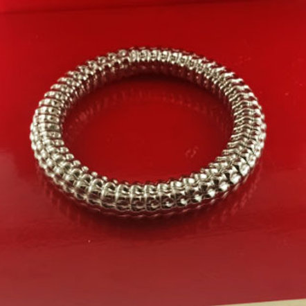 Corrugated Handmade Hollow Bangle in Sterling silver 925
