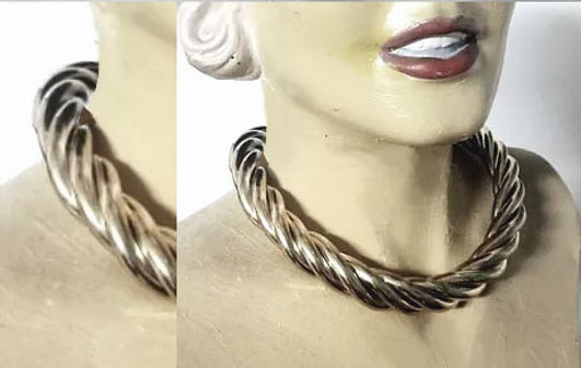 sterling silver twisted collar necklace